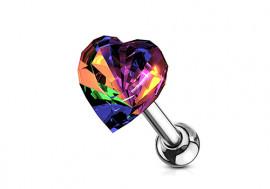Piercing cartilage coeur multicouleur