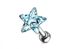 Piercing cartilage étoile cristal bleu