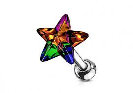 Piercing cartilage étoile cristal multicouleur