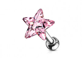 Piercing cartilage étoile cristal rose