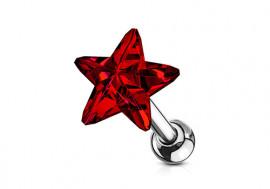 Piercing cartilage étoile cristal rouge