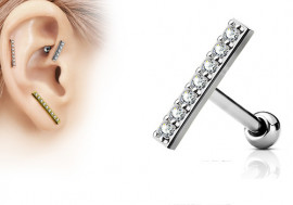 Piercing cartilage barre strass blanc