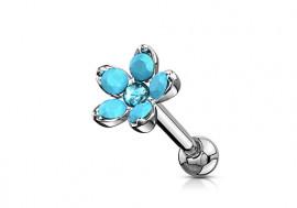 Piercing cartilage fleur opale turquoise