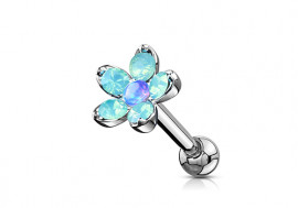 Piercing cartilage fleur opale verte