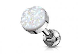 Piercing cartilage pierre synthétique blanche