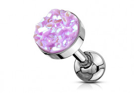 Piercing cartilage pierre synthétique violette claire