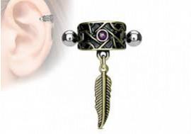 Piercing cartilage vintage opale et plume