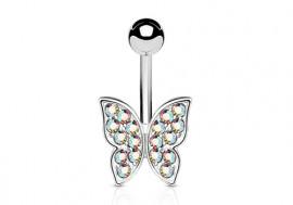 Piercing de ventre papillon aurore boréale