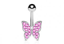 Piercing de ventre papillon rose