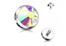 Piercing Microdermal cristal blanc irisé acier