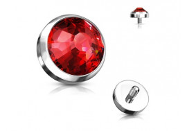 Piercing Microdermal cristal rouge titane