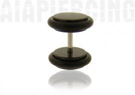 Faux piercing plug acier anodisé noir