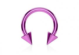 Piercing fer à cheval spike violet 1,6mm x 10mm