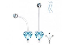 Piercing nombril femme enceinte coeur bleu