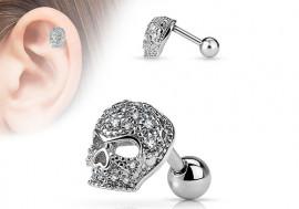 Piercing cartilage ou hélix tête de mort et strass