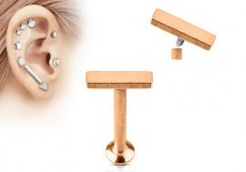 Piercing helix, cartilage, tragus barre plaqué or rose