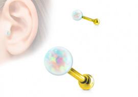 Piercing helix, cartilage, tragus opale plaqué or