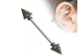 Piercing industriel double flèche tribal