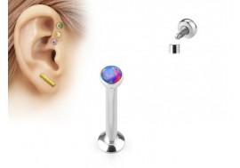 Piercing cartilage et levre opalite violet