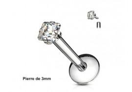 Piercing labret pierre carrée-Blanc 3mm