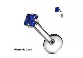 Piercing labret pierre carrée-Bleu foncé