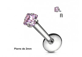 Piercing labret pierre carrée-rose