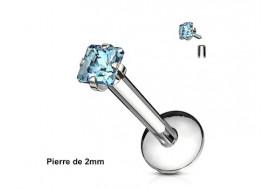 Piercing labret pierre carrée-Bleu turquoise