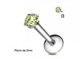 Piercing labret pierre carrée-vert