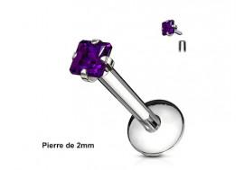 Piercing labret pierre carrée-violet