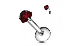 Piercing labret coeur-rouge