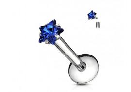 Piercing Labret Etoile-Bleu foncé