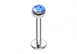 Piercing labret et helix swarovski bleu clair