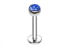 Piercing labret et helix swarovski bleu