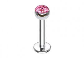 Piercing labret et helix swarovski rose