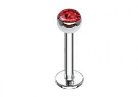 Piercing labret et helix swarovski rouge