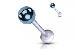 Piercing labret acrylique bille bleue