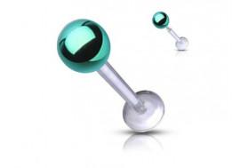Piercing labret acrylique bille verte