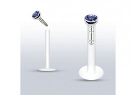 Piercing labret Madonna diamant bleu clair 2mm