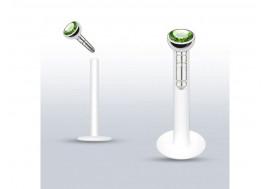 Piercing labret Madonna diamant vert 2mm