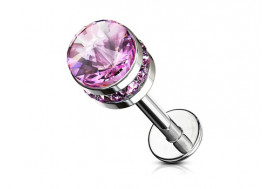Piercing labret multi strass rose