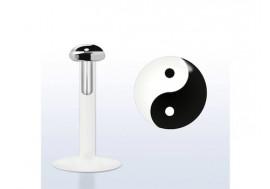 Piercing labret argent massif 925 Yin Yang