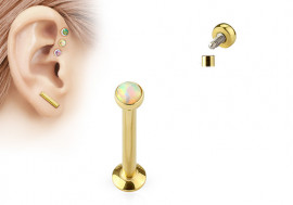 Piercing labret et helix opalite blanche plaqué or