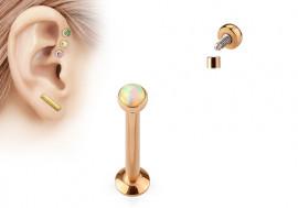 Piercing labret et helix opalite blanche plaqué or rose
