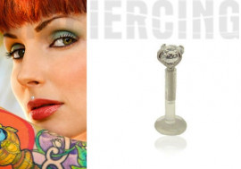 Piercing labret flexible carré