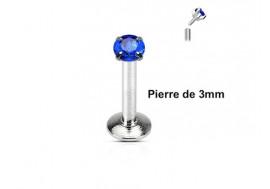 Piercing Labret interne pierre bleue 3mm