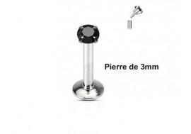 Piercing Labret interne pierre noire 3mm