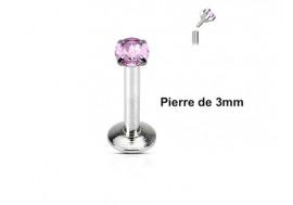 Piercing Labret interne pierre rose 3mm
