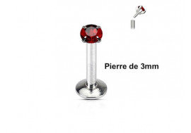 Piercing Labret interne pierre rouge 3mm