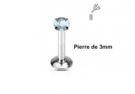 Piercing Labret interne pierre turquoise 3mm