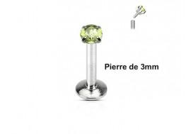 Piercing Labret interne pierre verte 3mm